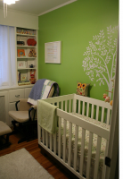Neural nursery with bright green wall with a very modern and chic style.PNG