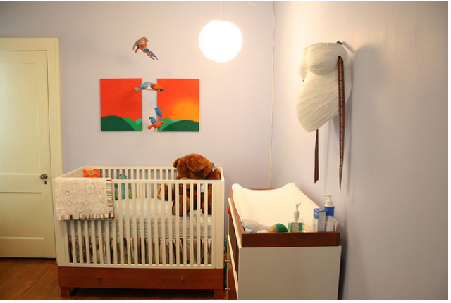 Bright colored nursery ideas with cool nursery art.PNG