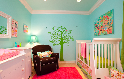 attractive and bright red nursery ideas | Beautiful baby girl nursery decor ideas with bright colors ...