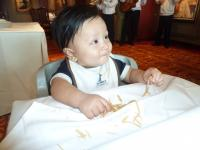 Darwin the 8 month old baby on the Norwegian Pearl Le Bistro cafe eating spaghetti.jpg