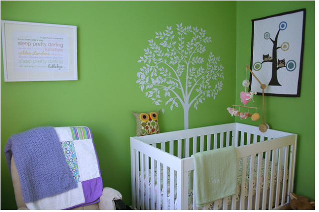 Contemporary Nursery With Bright Green Wall Painted With