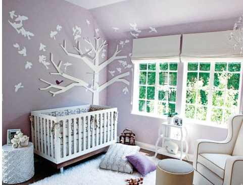 Bird Themed Nursery With Purple Painted Walls Png