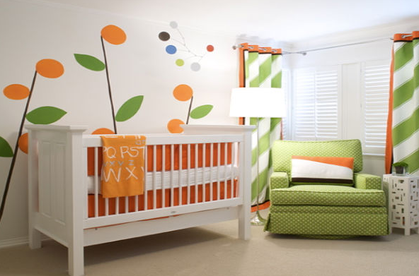 Chic looking nursery with orange theme color nursery ideas.PNG