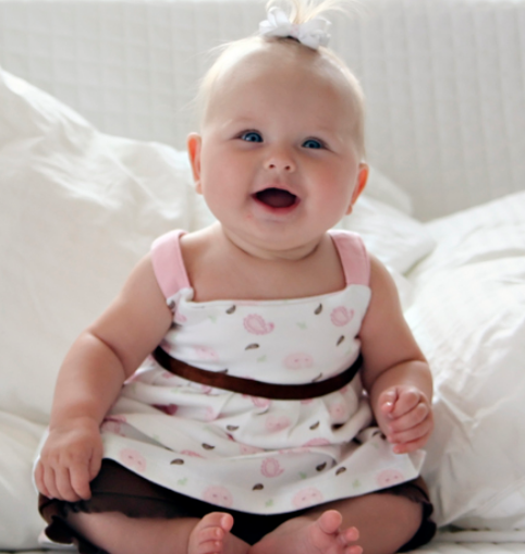 23c60e1de Happy baby girl pictures smiling to the camera in her super cute ...