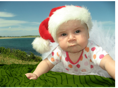 Post of a cute baby wearing santa hot