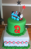 Modern Thomas the train birthday cake pictures with cake decoration with stars.PNG