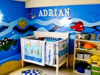Boy nursery decor pictures with ocean theme.JPG