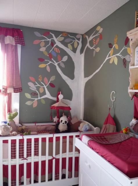 Modern girl nursery with nature theme with tree wall decal with colorful leaves.JPG