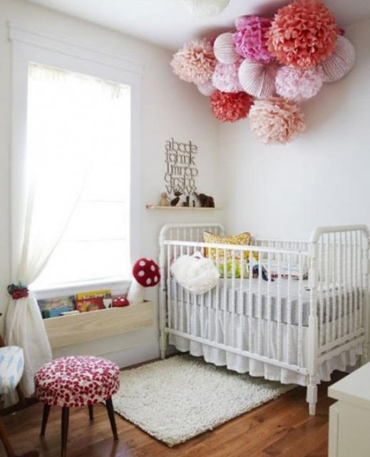 2015 girl nursery with very cool paper lanterns for girls.JPG
