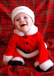 Cute and happy baby boy Christmas photo in his baby Santa outfit.JPG