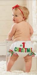 Baby first Christmas outfit perfect for baby girl with red flower headband.JPG