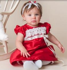 Baby girl xmas dress in red with white flowers and bows dress decor.JPG