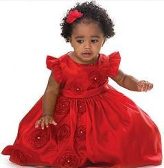 Beautiful black baby girl Christmas Dress in red.JPG