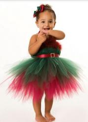 Girls Christmas Elf tutu dress in green and red.JPG