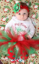 Newbown baby girl Christmas outfit looking so cute with red and green headband.JPG