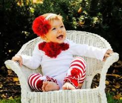 Pretty baby girls Christmas outfit with red large flower headband.JPG