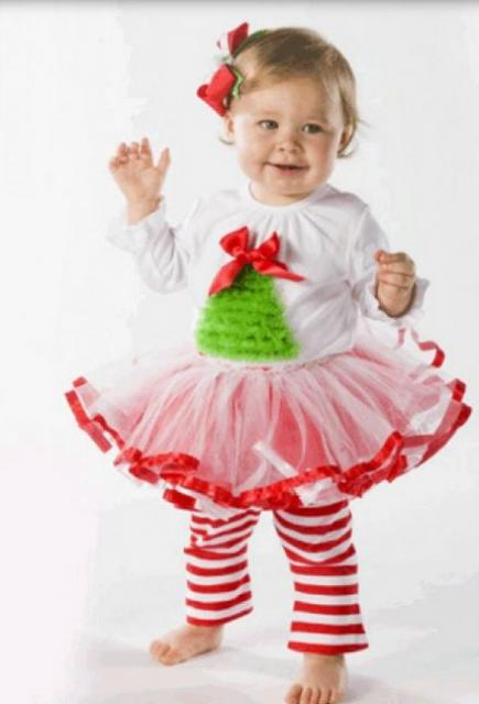 Toddler girl Christmas outfit with tutu and cute Christmas tree on shirt.JPG