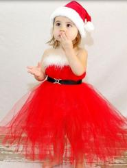 Toddler girl Christmas tutu dress in bright red and Santa hat.JPG
