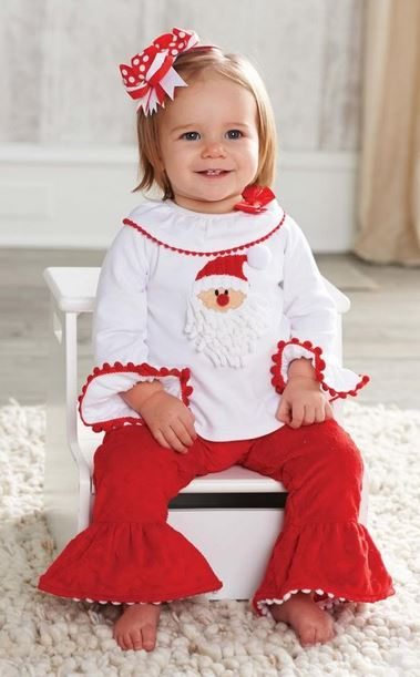 Toddler girl cute Christmas outfit with white and red bow headband.JPG