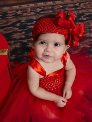 Adorable baby girl Christmas red dresses with large bow headband.JPG