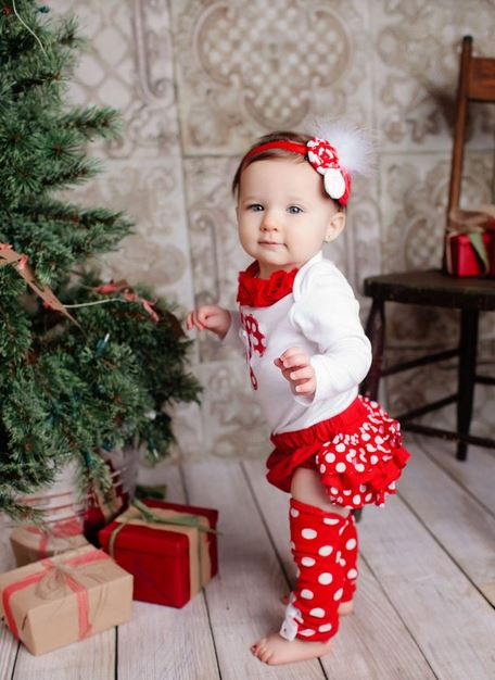 Adorable Baby Girls Christmas Outfit Standing Next To Tree Great Photo Shoot IdeasJPG