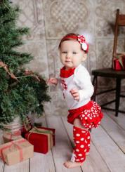 Adorable baby girls Christmas outfit standing next to Christmas tree great photo shoot ideas.JPG