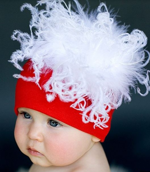Baby Christmas hat with white feathers.JPG