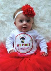 Baby Christmas outfit with red tutu and red large flower headband.JPG