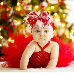 Pretty baby girl in beautiful baby girl Christmas dress.JPG
