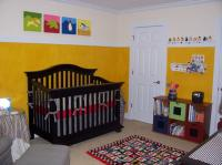 Yellow nursery decor idea with dark furniture.JPG