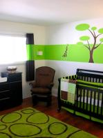 Bright green nursery with black furniture.JPG