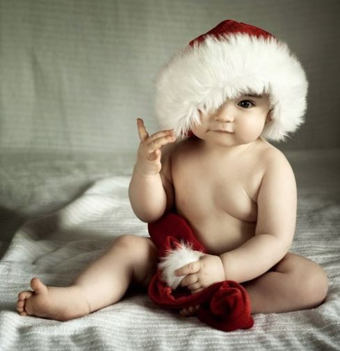 Adorable baby Christmas with super cute baby Santa hat