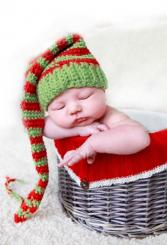Baby in basket Christmas photo shoot