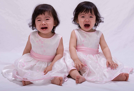 Crying Twin Toddler Pretty Dresses