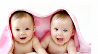 Cute twins baby girls under the pink blacket.PNG