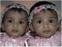 Pretty twin girls in pink dresses and small floral headbands.PNG