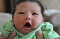 Cute Asian baby girl image in green.PNG